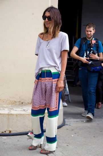 The popular print pajama pants that is oh so perfect right now - topped with a tee (seeing these pj's on the street everywhere)