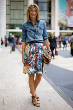 Tropical Hawaiian Print Skirt topped with denim