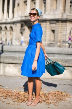 VINTAGE Blue Dress  and leather tote with added scarf and Nude Kitten Heels