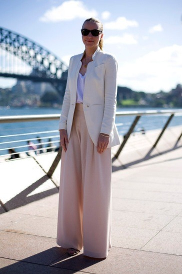 White Blazer over White Tee with Peach Wide Legged Trousers PIC BY Phil Oh