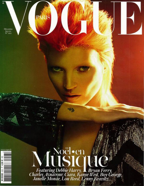 Vogue Paris December 2011/January 2012 (Kate Moss) - Tattoos in Fashion Tattoos - one area I have not found a conclusion in, within the industry in regards to removing or keeping them.  My good friend, Kevin Haveliwala, just returned from Paris and got me this edition (thank you!). Kate Miss graces the cover of the latest Vogue Paris. The first thing I noticed was the tattoo, and I smiled. Based on my own history with editorial work, usually most photographers I have worked for always try to get the makeup artist to cover tattoo's before a shoot. If they for some reason don't, they ask me to do so in post. They ensure this is going to be taken care of by including it in the notes during retouching, often with emphasis.  So why am I smiling? Because I don't consider tattoos as flaws, even though a lot of people remove them in editorials. Then I see this, Kate Moss displaying it with pride.  I think this is also a special case, because that tattoo is part of Kate Moss's identity. She has shown it numerous times without makeup.  For instance, another notable cover she had was this one below:   There have also been other times this has happened.  So I personally don't mind this at all, but do know people who always try to remove them.  Public Question:  What do you think? If this was your job, would you keep it or remove it? Furthermore, if the model was not a notable figure (and you were shooting a standard spread), would you remove or keep smaller tattoos? Where do you draw the line with keeping it vs removing it?