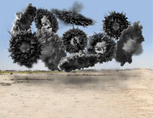 "Cai Guo-Qiang. saraab at mathaf arab museum of modern art, qatar | Rendering of ""Wreath"" from ""Black ceremony"". ""Black ceremony"" is a progression of 10 detonations near the city of mathaf. 8, 300 shells ignited to form a black pyramid as well as colorful circles, triangles and rectangles; shapes which hold significant meaning for the arabs. the video of the event is presented as part of the displayed works. Courtesy of the mathaf arab museum of modern art"