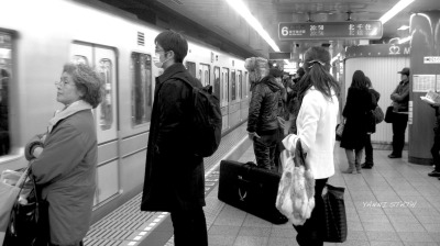 Tokyo, Japan subway. Waiting for a train.