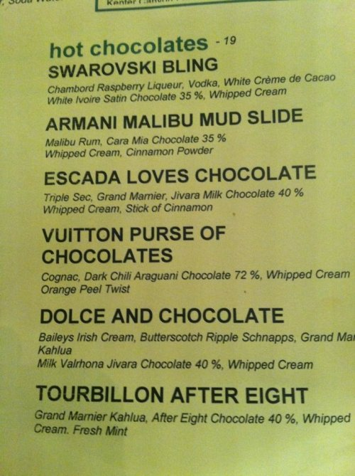 designersocial:  Bar menu @Regent Beverly Wilshire.  I love this menu!^^