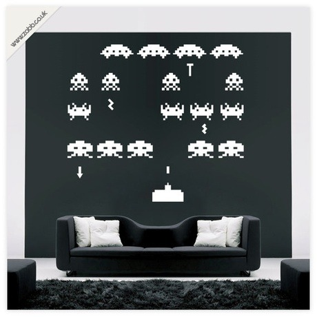 Space invaders vinyl wall sticker
