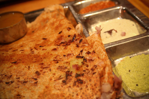 indian-food:  Onion Rava Masala Dosa