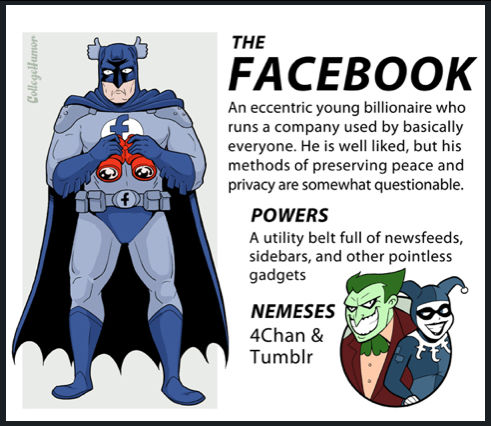 "According to the comic ""Internet Justice League"" on College Humor, the nemesis of Facebook is… Tumblr! Too bad they depict Tumblr as a jester. We think a well-dressed guy who has the ability to make anyone laugh through blogs like Clients From Hell would be more appropriate! See the full article, ""Internet Justice League: Superheroes of the Online World [SUNDAY COMICS]"" here."