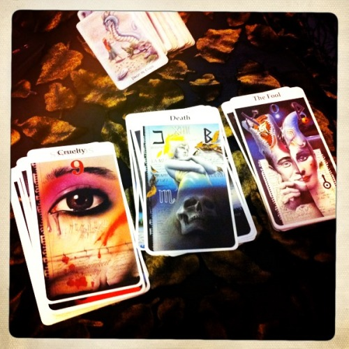 Cards from the Rohrig Tarot Deck. It's one of my favourites, and I've had it for 10 years but I never use it; it's too big for my hands to shuffle!