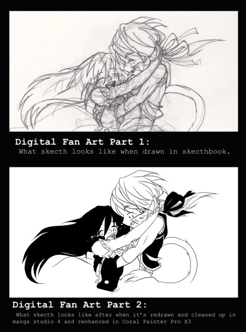 before and after shots of an fan art…