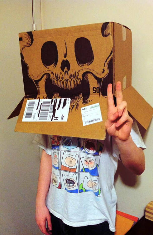 Found a box, and then drew on it. Then I placed said box on my cranium!
