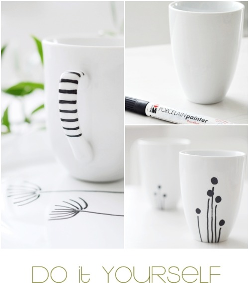 craftyspice:  Cheap IKEA mugs + porcelain paint pen = custom mugs = perfect, quick, last minute gits