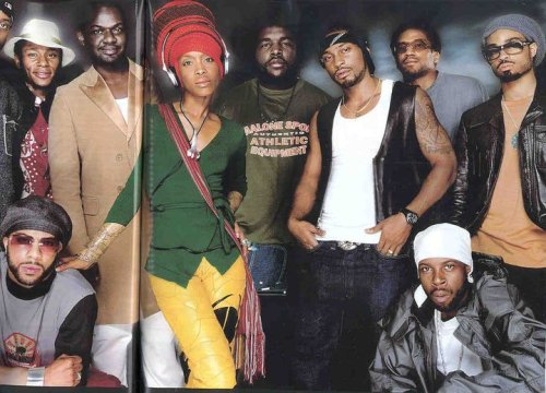 super-eklectic1:   ~ The Soulquarians ~ Left to Right: Talib Kweli, Common  (kneeling), Mos Def, James Poyser, Erykah Badu, Questlove, D'Angelo,  Q-Tip, J Dilla (kneeling), Bilal  hip hop