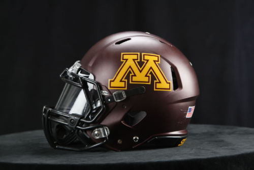 The Gophers released new helmets today, with the entire jerseys being released in January. The matte maroon finish with just touches of black looks nice; I hope the university and Nike use the same color scheme for an all maroon jersey and pants combination. [Gopher Sports]
