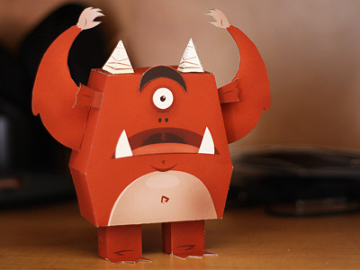 monstereatsdesign:  (via Dribbble - Paper Monster! by Andrew Power)