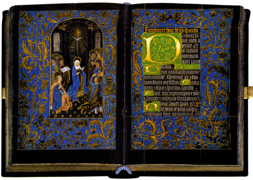 jothelibrarian:  Pretty medieval manuscript of the day is the Black Hours, one of a very few manuscripts on vellum that is dyed black. This image is of folios 18v and 19r shows Whitsun (also known as Pentecost). For a digital exhibition, take a look at the Pierpont Morgan library website. Image source: Free Christ Images website, and licensed for re-use with attribution.