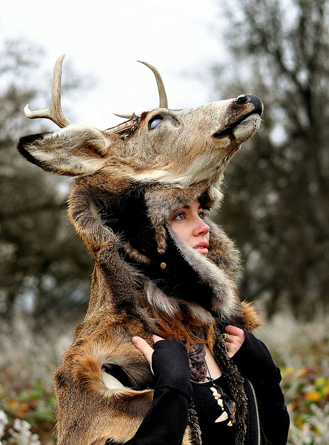 ratatoskpostalservice:   Deer Headdress on Flickr. Model and Taxidermy: NaturePunk.  Photography courtesy of: Casey Louise.