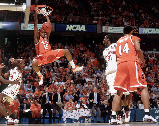 Syracuse's Carmelo Anthony throws down a dunk during the 2003 East Regional Final against Oklahoma. The Orange are currently No. 1 in the nation and looking to win their first championship since Anthony led them all the way. (Damian Strohmeyer/SI) WINN: Syracuse holds down top spot in this week's Power Rankings