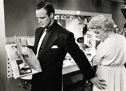 Marlon Brando and Vivian Blaine on the set of Guys and Dolls (1955). Photo by Phil Stern