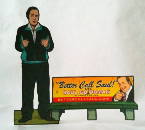 "12.19.11 ~ 353/365 Breaking Bad Paper Dolls: Saul Goodman (with ""Better Call Saul"" bench ad and velour jump-suit accessories) template: http://flannelanimal.tumblr.com/tagged/paper_dolls"