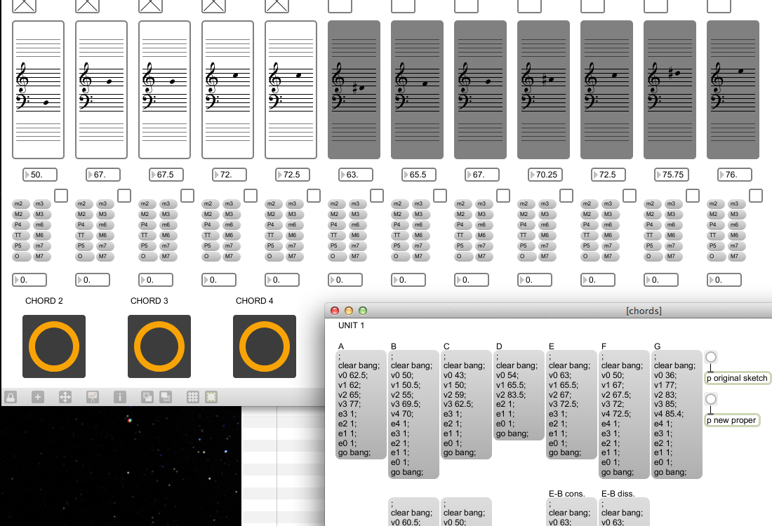 Fall 2011 in Screen Captures A little utility for dealing with microtonal sonorities, appropriately titled chordz; Max 5.