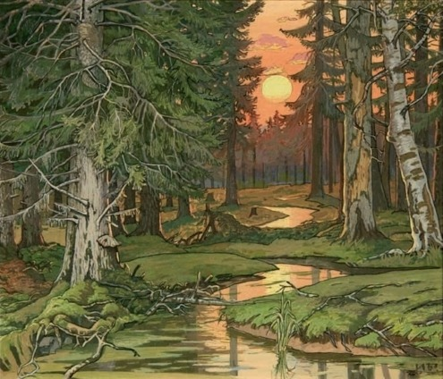 alrauna:  Fairy Forest at Sunset (1906) by Ivan Bilibin