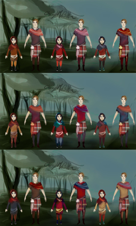 Color comps for the main characters (the 2 brothers) against the BG color.