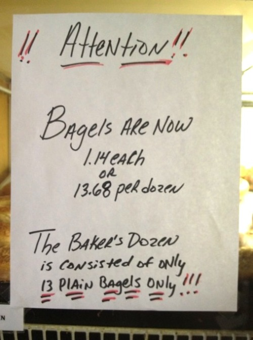 An important announcement concerning bagels.