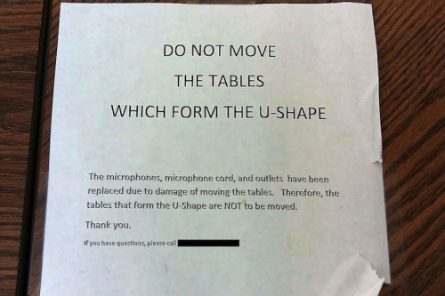 Do not move tables which form the U-shape.