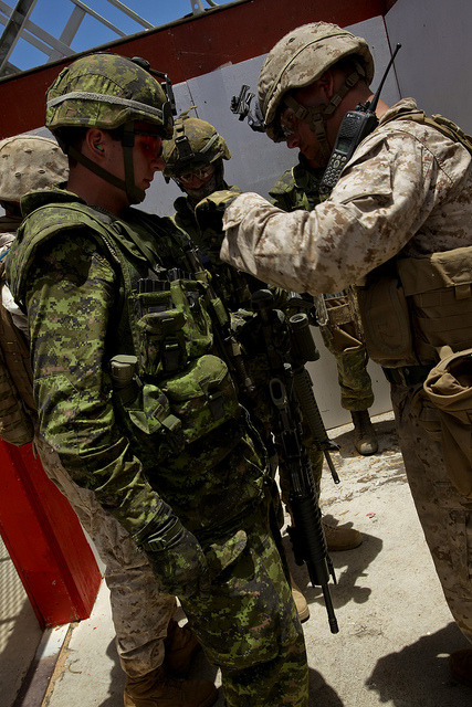 fuckyeahcanadianforces:  Canadian troops training with US Marines.