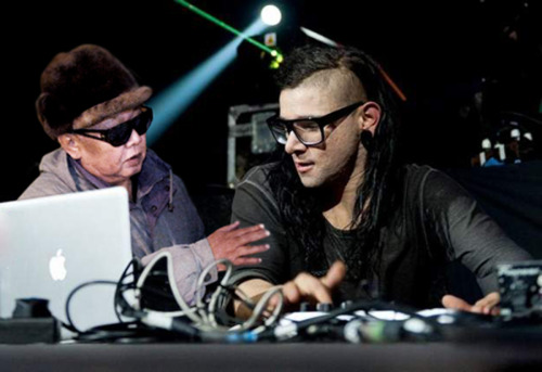 kim droppin' with skrillex