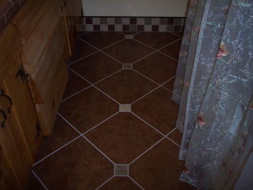Porcelain Tile Floor Diamond Pattern with dots.