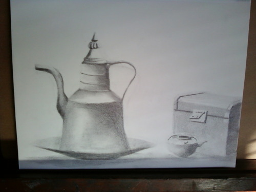 My last actual class still life drawing, but compared to my previous stuff, hooray for improvment!!