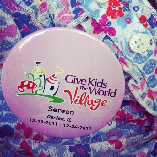 This is the button Give Kids the World gave Sereen. VIP treatment at all the Disney and Universal parks.  (Taken with instagram)
