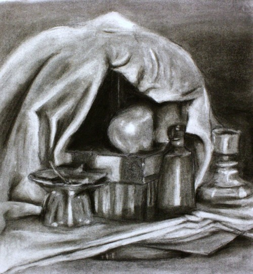 Charcoal Subtraction method. black charcoal. 2010. Drawing I. Still Life