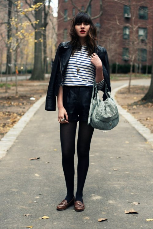 glamour:  Things that never look bad: black tights, striped shirts, leather jackets, red lips. theclotheshorse:  Natalie of Natalie Off Duty