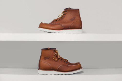 Red Wing Boots This boot is one of the two key styles that elevated the Red Wing brand to worldwide renown. The 875 and 877 were made with russet colored leather, tanned by using the sap of sequoia bark. The process yielded a rich color that was very close to the coat of an Irish Setter hunting dog. These boots provided excellent arch support, and had a light, cushion crepe sole. The 877 was introduced first and the 875 would quickly follow. They became an overnight sensation among hunters and workers alike. Together the 875 and 877 became Red Wing's most widely recognized boots and icons for the brand.