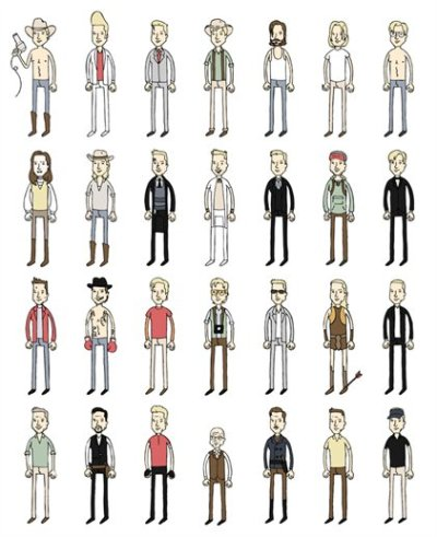 A series of illustrations of the characters Brad Pitt has played. On another note.. Brad Pitt on politics: You shouldn't speak until you know what you're talking about. That's why I get uncomfortable with interviews. Reporters ask me what I feel China should do about Tibet. Who cares what I think China should do? I'm a fucking actor! They hand me a script. I act. I'm here for entertainment. Basically, when you whittle everything away, I'm a grown man who puts on mak