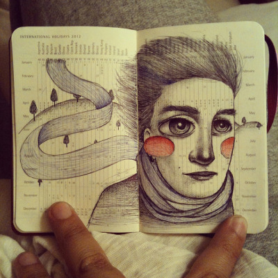 Mini moleskine drawing by Lady Orlando on Flickr.