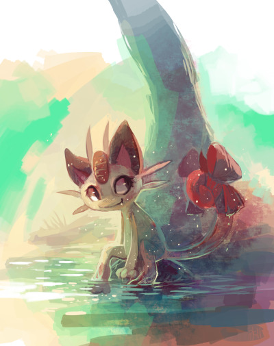 Shiny Meowth by *purplekecleon ='D