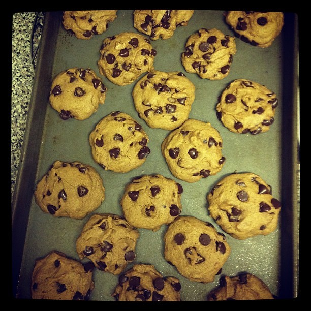 Vegan Chocolate Chip Cookies! One of three varieties of cookies I baked tonight :)