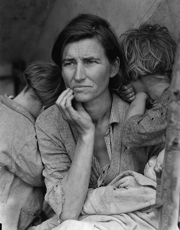 "Dorothea Lange —""Destitute peapickers in California; a 32 year old mother of seven children,"" California, February 1936.   ""I saw and approached the hungry and desperate mother, as if drawn by a magnet. I do not remember how I explained my presence or my camera to her, but I do remember she asked me no questions. I made five exposures, working closer and closer from the same direction. I did not ask her name or her history. She told me her age, that she was thirty-two. She said that they had been living on frozen vegetables from the surrounding fields, and birds that the children killed. She had just sold the tires from her car to buy food. There she sat in that lean—to tent with her children huddled around her, and seemed to know that my pictures might help her, and so she helped me. There was a sort of equality about it."""