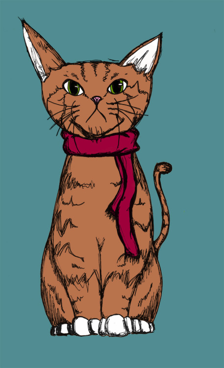 Scarf Cat 4 Aaron Ink and Photoshop