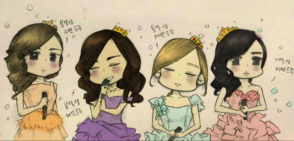 myong-ah-g:  Drawing Done by: 마때때  Was bored so I colored it…hahaha….I don't know what the colors of the dresses in the original pic are but I just decided to color the dresses with the fitting color of the girls….