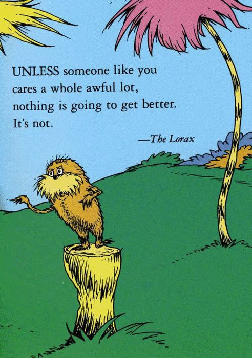 Everyone needs to be like the Lorax!