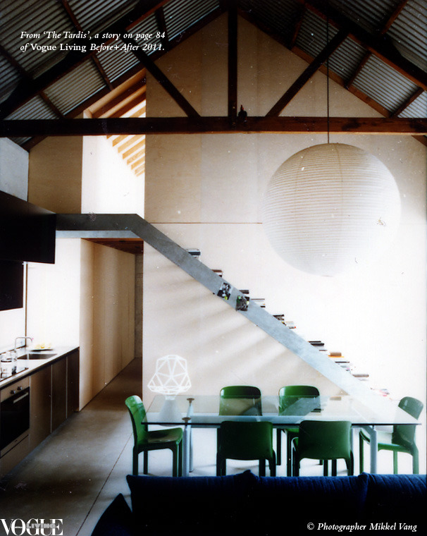 "voguelivingmagazine:  What was a bit of a barn has been turned into an enviably liveable house by architect Richard Peters and his partner, design activist and editor Heidi Dokulil. Before its recent reinvention it had other lives: second-hand washing machine storage, motorbike repair shop, artist's studio and, first, a coach-making business when built in 1890 by two Irish blacksmith brothers in a cul-de-sac in the eastern suburbs of Sydney. This small industrial building was like a tardis, wedged by chance in a back lane and waiting for them to appear. ""It remains a secret space,"" says Peters, ""revealing its new life connected to the sky, the seasons, the breezes and the surrounding gardens"". From 'The Tardis', a story on page 84 of Vogue Living Before+After 2011. Photograph by Mikkel Vang."