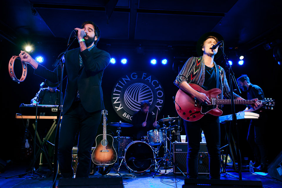 Serenades (Adam Olenius, left, and Markus Krunegård, right), Knitting Factory, December 15, 2011. Full sets of photos from their NYC debut at the Knitting Factory and the following night at the Mercury Lounge are up now at BrooklynVegan. © 2011 Dominick Mastrangelo