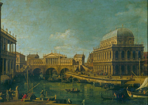 Canaletto. Capriccio with Palladio's Design for the Rialto Bridge, with Buildings at Vicenza. ca. 1744. Oil on canvas. Galleria Nazionale di Parma. Parma, Italia.