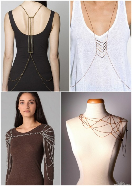 DIY Inspiration. Body Chains/Body Armour. After watching Project Accessory last week with the spiderweb body jewelry by Nina (lower right, photo found here) - put together with chains, jump rings and other findings, I think these could be recreated by someone with patience and a skilled eye. Found at Fora here (lots more photos of body chains). Lower left photo: Cornelia Webb Draped Shoulder Piece for $535 at Shopbop.