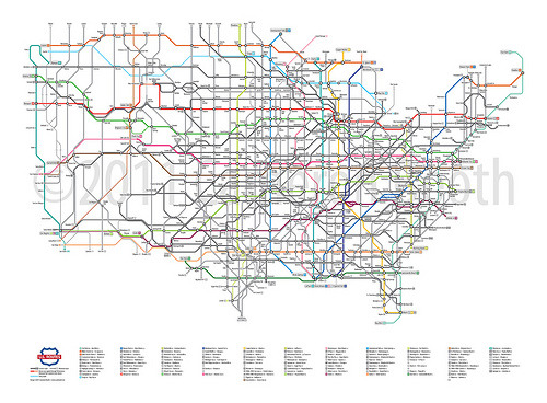 U.S. Routes as a Subway Map (by Cameron Booth)