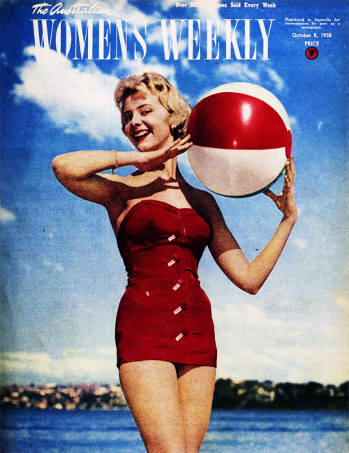 theniftyfifties:  Swimsuit cover model, The Australian Women's Weekly, 1958.